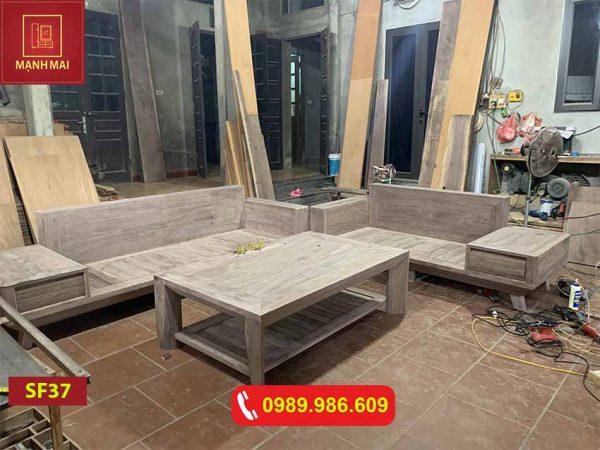 Bộ ghế sofa 2 văng chân oải gỗ óc chó Bắc Mỹ cao cấp SF37