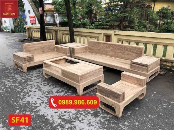 Bộ ghế sofa 2 văng chân quỳ gỗ hương xám SF41