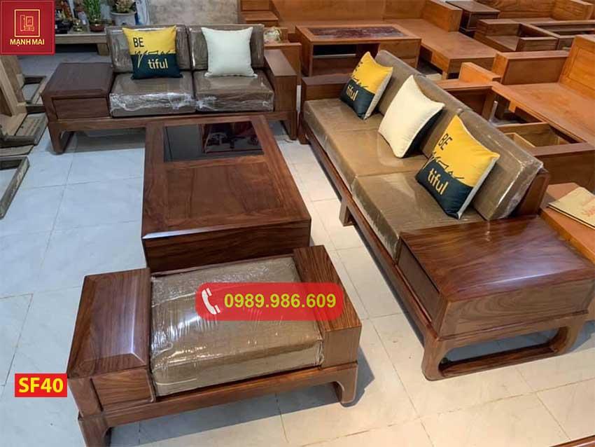 sofa 2 văng góc chữ L chân quỳ gỗ sồi Nga SF40