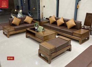 Bộ ghế sofa 2 văng chân quỳ gỗ sồi Nga SF40