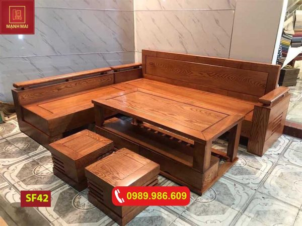 ghế sofa góc trứng to tựa và mặt liền gỗ sồi SF42